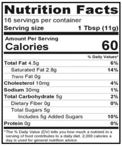 Strawberry Honey Butter Nutritional Information