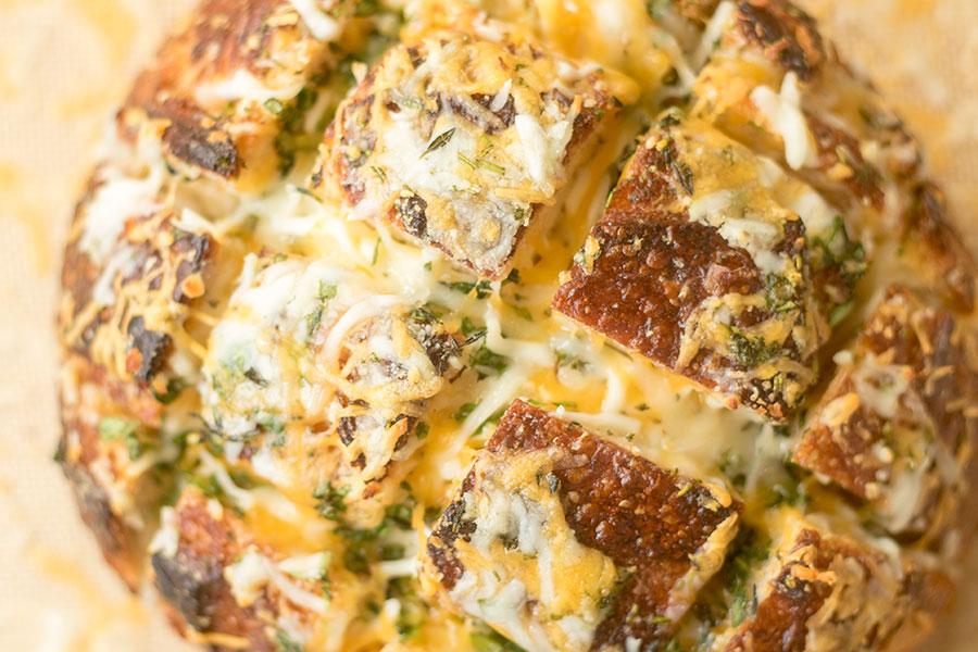 Cheesy Garlic Herb Pull Apart AKA Crack Bread