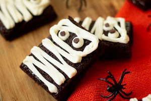 Vanilla Frosted Mummy Brownies