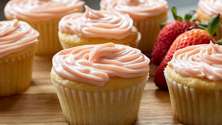 Strawberry Frosted Vanilla Cupcakes